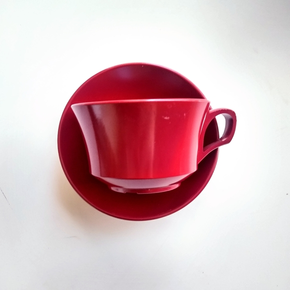 Vintage Cranberry Red Melamine Cups and Saucers